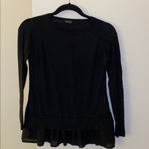 Topshop Sweater with Chiffon Detail